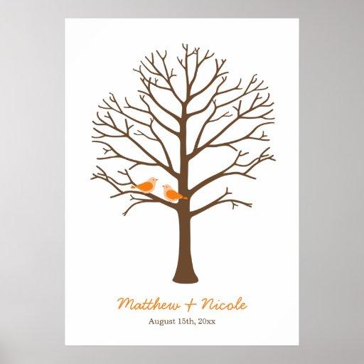 Orange Brown Birds Fingerprint Tree Wedding Poster