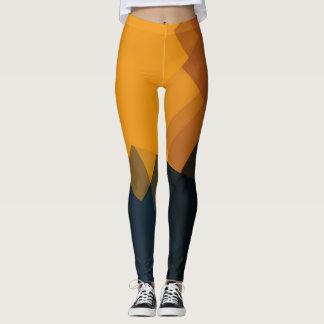 Orange Brown Black Modern Geometric Pattern Leggings