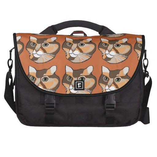 Orange & Brown Cat Designer Black Laptop Bag