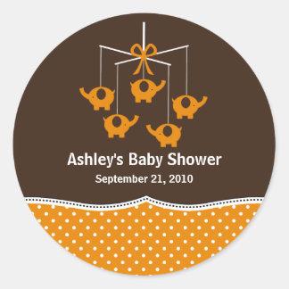 Orange & Brown Elephant Mobile Baby Shower Round Stickers