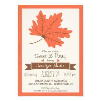 Orange & Brown Fall Leaf Sweet 16 Party 13 Cm X 18 Cm Invitation Card