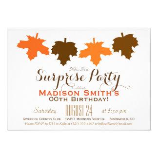 Orange & Brown Fall Leaves Birthday Surprise Party 13 Cm X 18 Cm Invitation Card