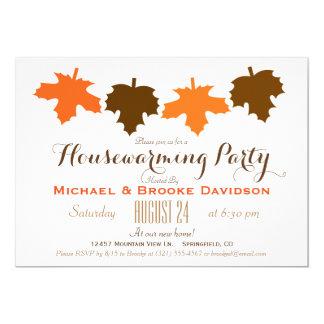 Orange & Brown Fall Leaves Housewarming Party 13 Cm X 18 Cm Invitation Card
