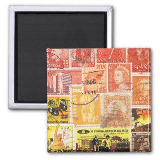 Orange Brown Fridge Magnet, Hippie Boho Travel Art Magnet