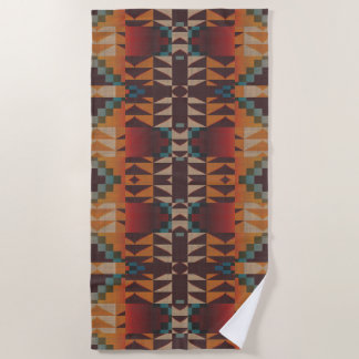 Orange Brown Red Teal Blue Eclectic Ethnic Look Beach Towel