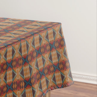 Orange Brown Red Teal Blue Eclectic Ethnic Look Tablecloth