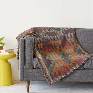 Orange Brown Red Teal Blue Eclectic Ethnic Look Throw Blanket