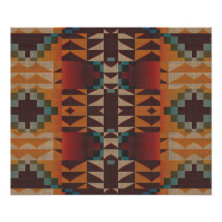Orange Brown Red Teal Blue Ethnic Tribal Mosaic Poster