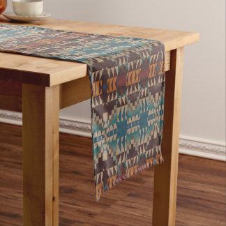 Orange Brown Red Teal Blue Tribal Mosaic Pattern Short Table Runner