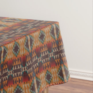 Orange Brown Red Teal Blue Tribal Mosaic Pattern Tablecloth