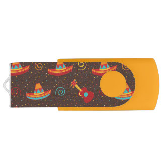Orange Brown Red Yellow Mexican Sombreros Guitars USB Flash Drive