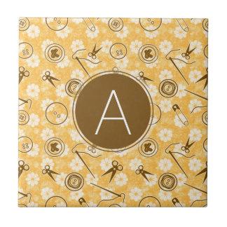 Orange Brown Sewing Pattern with Monogram Tiles