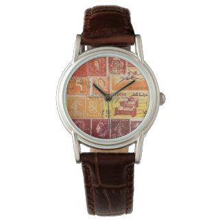Orange Brown Sunset Wristwatch, Postage Stamp Art Watch