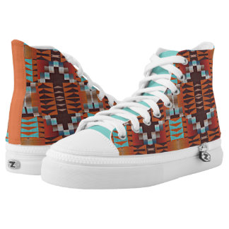 Orange Brown Turquoise Blue Eclectic Ethnic Look Printed Shoes