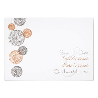 Orange & Brown Twine Globes Wedding Save The Date 3.5x5 Paper Invitation Card