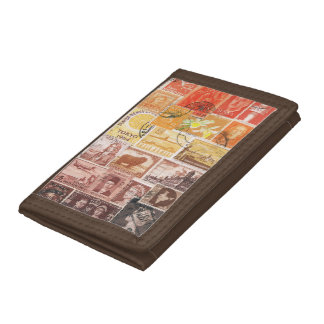 Orange Brown Wallet, Sunset Sky Postage Stamp Art Trifold Wallets