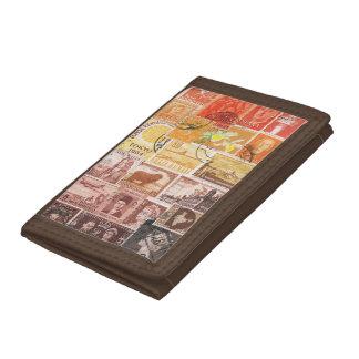 Orange Brown Wallet, Sunset Sky Postage Stamp Art Trifold Wallets