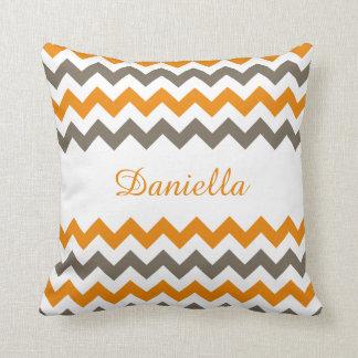Orange, Brown, White Chevron Name Pillow