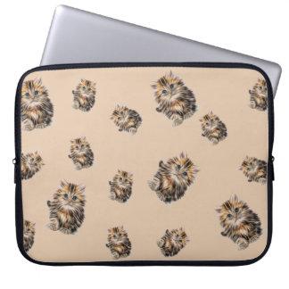 orange brown white serious, sad, cat illustration laptop sleeve