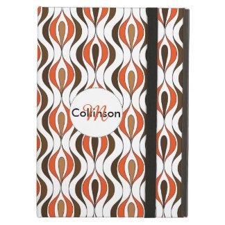 Orange Brown White Stylish Swirly Stripe Design Case For iPad Air