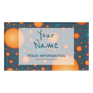 Orange bubbles. Add your name or custom text. Name Tag