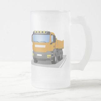 orange building sites truck frosted glass beer mug