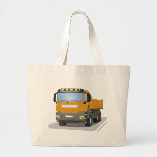 orange building sites truck large tote bag