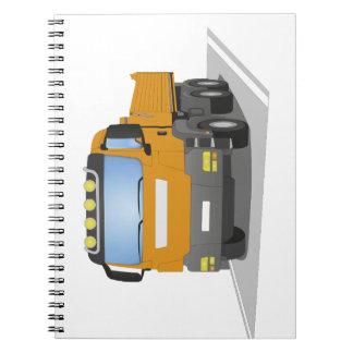 orange building sites truck notebook