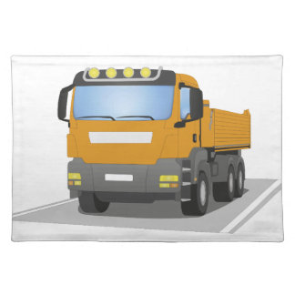orange building sites truck placemat
