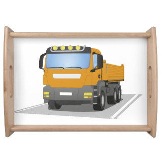 orange building sites truck serving tray