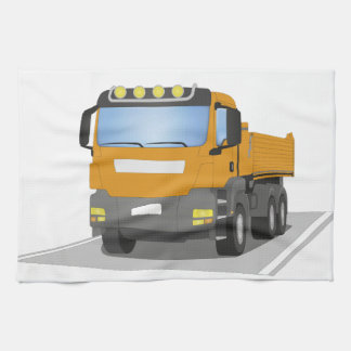 orange building sites truck tea towel