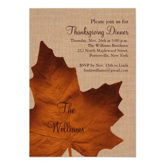 Orange Burlap Thanksgiving Dinner Invitation