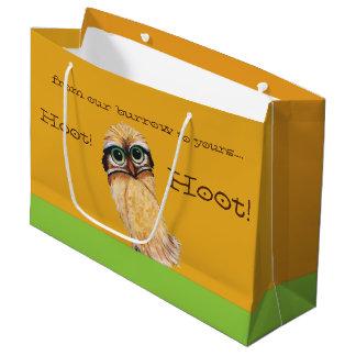 Orange Burrowing Owl Coastal Art Large Gift Bag