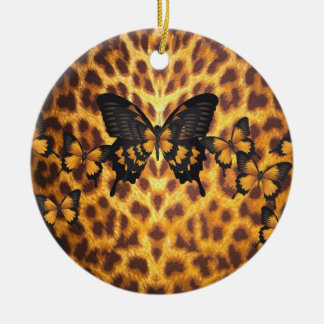 ORANGE BUTTERFLIES ON LEOPARD PRINT CHRISTMAS ORNAMENT