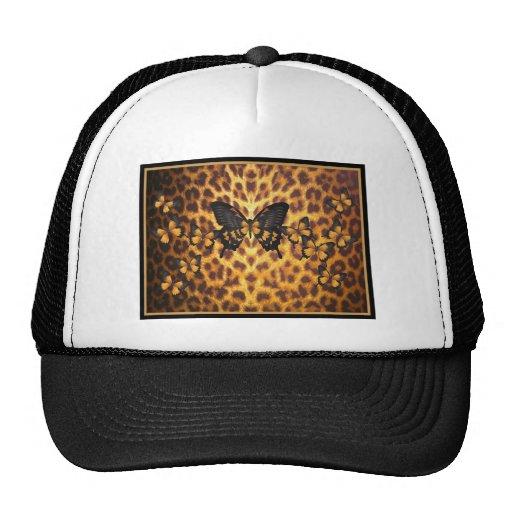 ORANGE BUTTERFLIES ON LEOPARD PRINT TRUCKER HATS