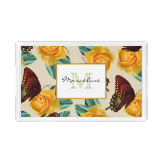 Orange Butterflies & Yellow Roses Garden with Name Acrylic Tray