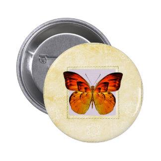 Orange butterfly 6 cm round badge