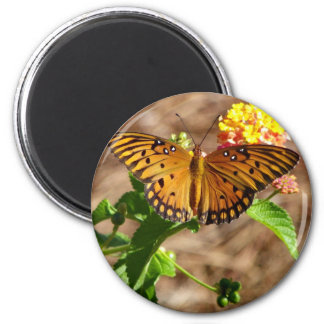 Orange Butterfly 6 Cm Round Magnet