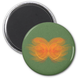 Orange Butterfly Abstract Art 6 Cm Round Magnet
