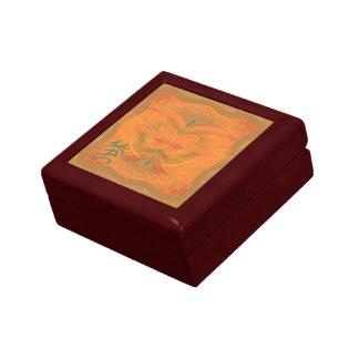 Orange Butterfly Abstract Art Small Square Gift Box