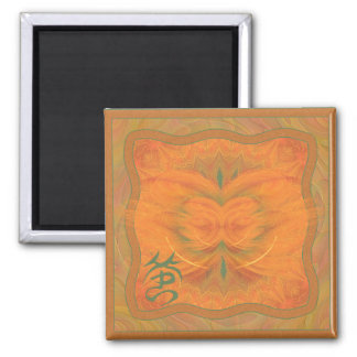 Orange Butterfly Abstract Art Square Magnet