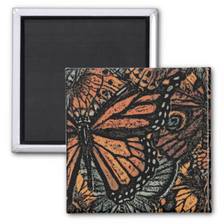 Orange butterfly abstract fantasy art refrigerator magnet