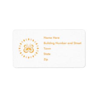 Orange Butterfly Design Label