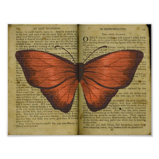Orange Butterfly Drawing on Old Book Page Poster