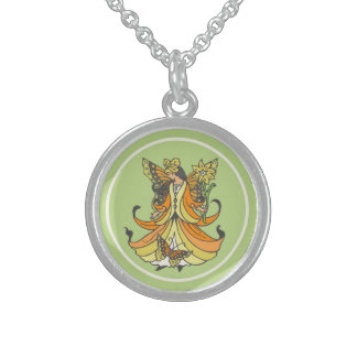 Orange Butterfly Fairy With Flowing Dress Round Pendant Necklace