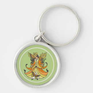 Orange Butterfly Fairy With Flowing Dress Silver-Colored Round Key Ring