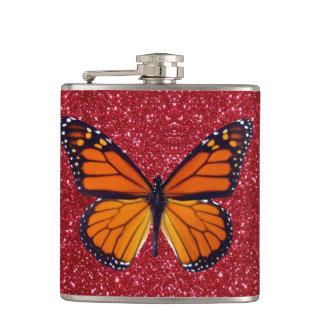 Orange Butterfly On Red Glitter Flask