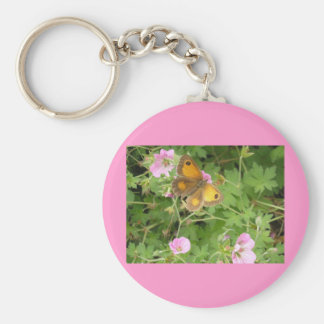 Orange Butterfly Pink Flowers Key Chains