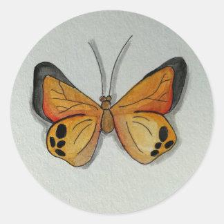 Orange Butterfly Round Sticker