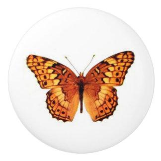 Orange Butterfly vintage art Ceramic Knob